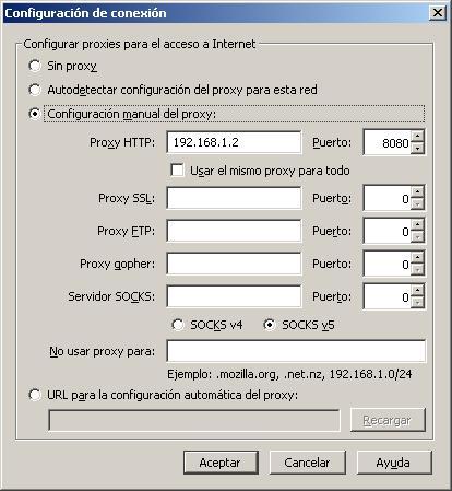 configuracion firefox proxy