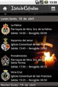 lista cofradias aplicación de semana santa