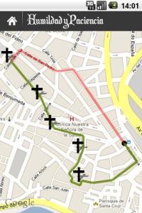recorrido sobre el mapa aplicación semana santa